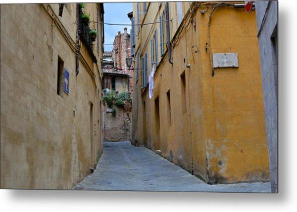 Tiny Street In Siena Metal Print
