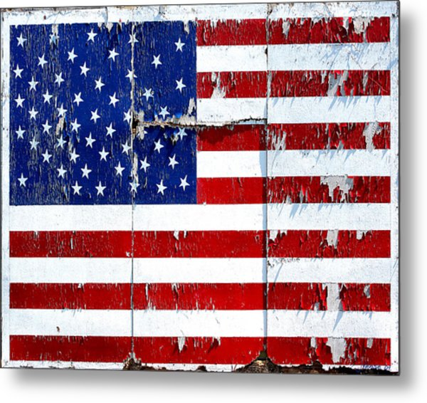 Tired Ole Flag Metal Print