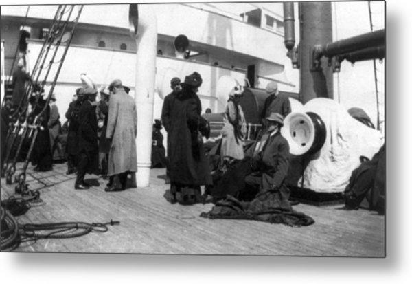 Titanic, Survivors Aboard Rescue Ship Metal Print by Everett