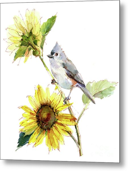 Titmouse With Sunflower Metal Print