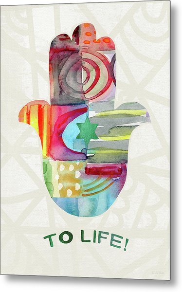 To Life Hamsa With Green Star- Art By Linda Woods Metal Print