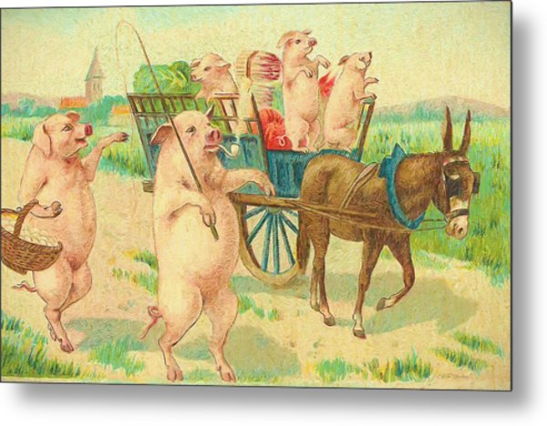 To Market To Market To Buy A Fat Pig 86 - Painting Metal Print