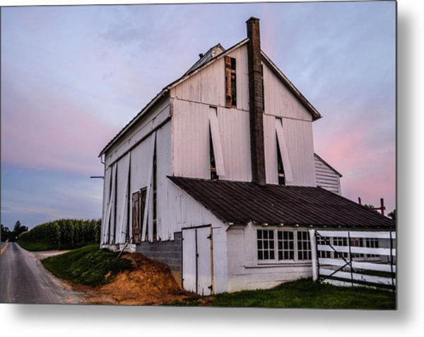 Tobacco Barn At Dusk Metal Print