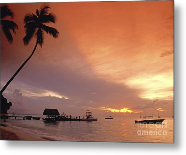 Metal Print featuring the photograph Tobago, Pigeon Point Sunset, Caribbean Sea, by Juergen Held