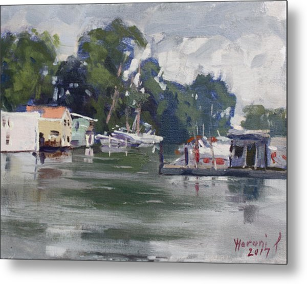 Today's Plein Air Workshop Demonstration At Wardell Boat Yard Metal Print
