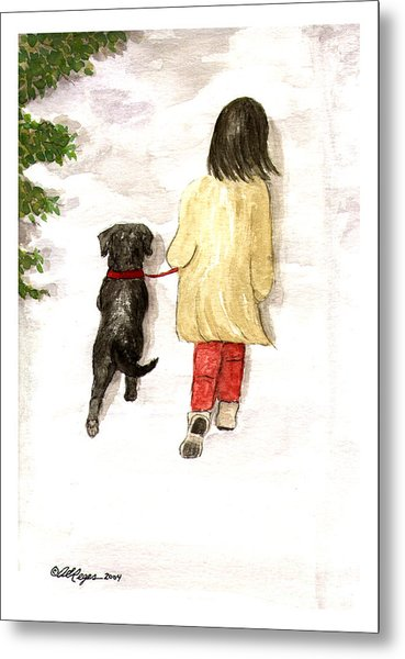 Together - Black Labrador And Woman Walking Metal Print
