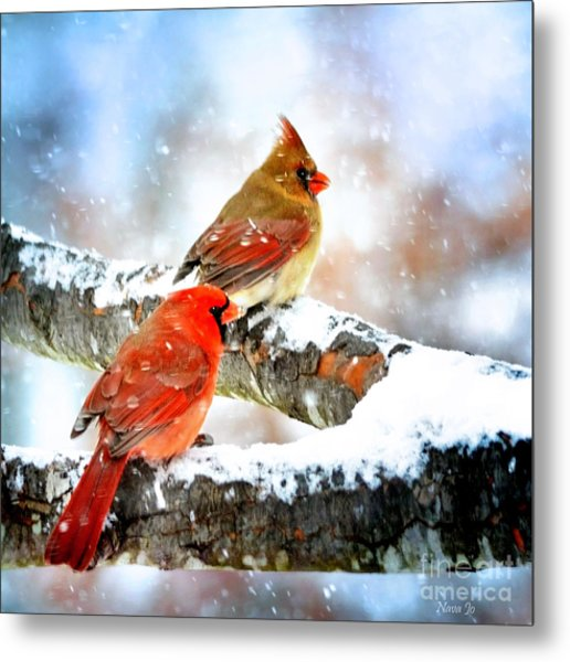 Together In The Snow Metal Print