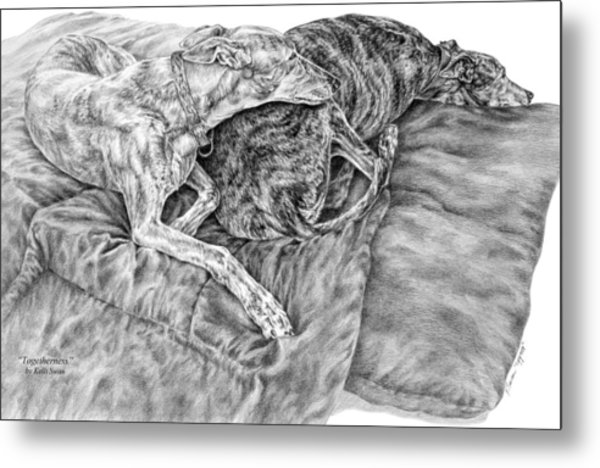 Togetherness - Greyhound Dog Art Print Metal Print
