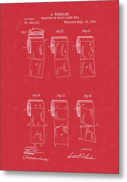 Metal Print featuring the drawing Toilet Paper Patent Art Red by Prior Art Design