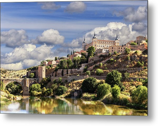 Toledo. Majestic Stone Fortress The Alcazar Is Visible From Any Part Of The City Metal Print