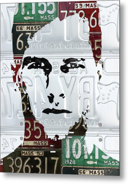 Tom Brady New England Patriots Massachusetts Recycled Vintage License Plate Portrait Original Metal Print