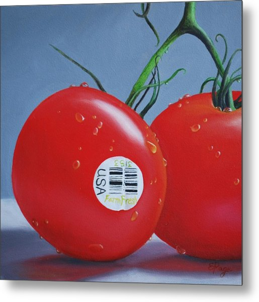 Tomatoes With Sticker Metal Print