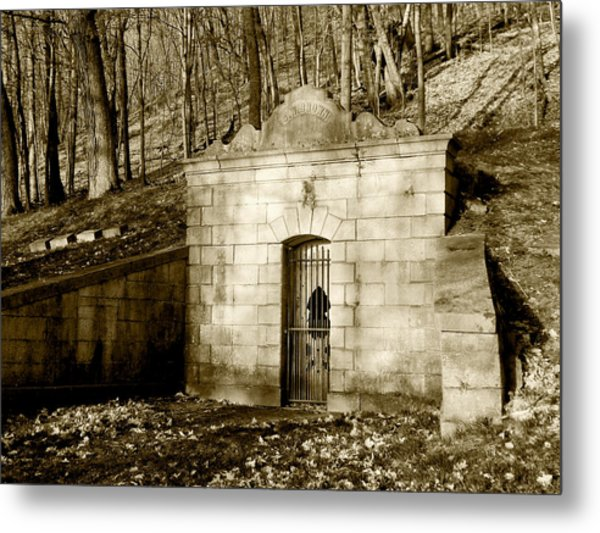 Tomb With A View In Sepia Metal Print
