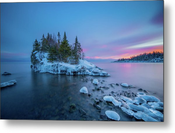Tombolo Sunset // North Shore, Lake Superior  Metal Print