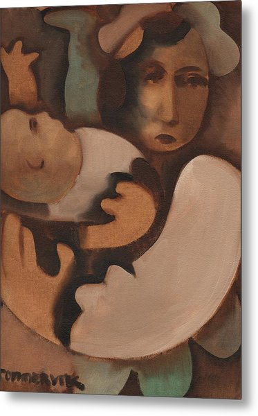 Abstract Mother And Baby Art Print Metal Print