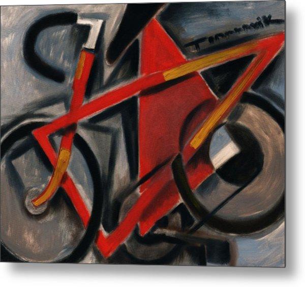 Tommervik Abstract Cubism Red Ten Speed Bike Art Print Metal Print