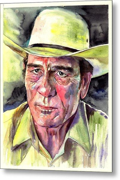 Tommy Lee Jones Portrait Watercolor Metal Print