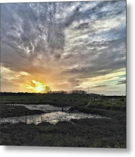Tonight's Sunset From Thornham Metal Print