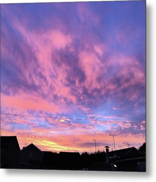 Tonight's Sunset Over Tesco :) #view Metal Print