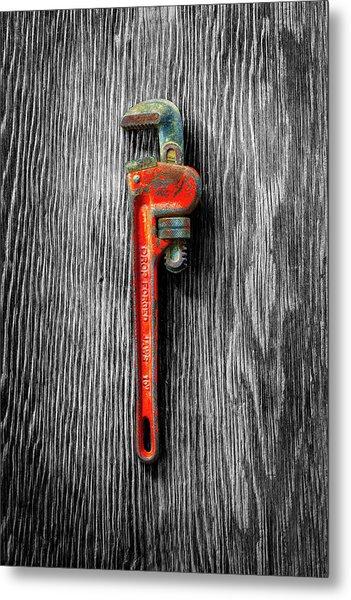Tools On Wood 62 On Bw Metal Print