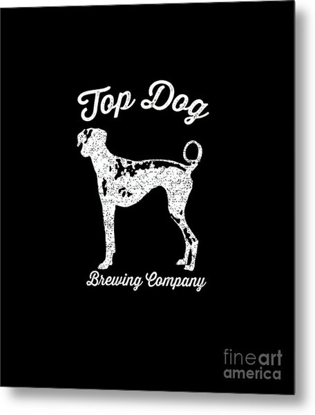 Top Dog Brewing Company Tee White Ink Metal Print