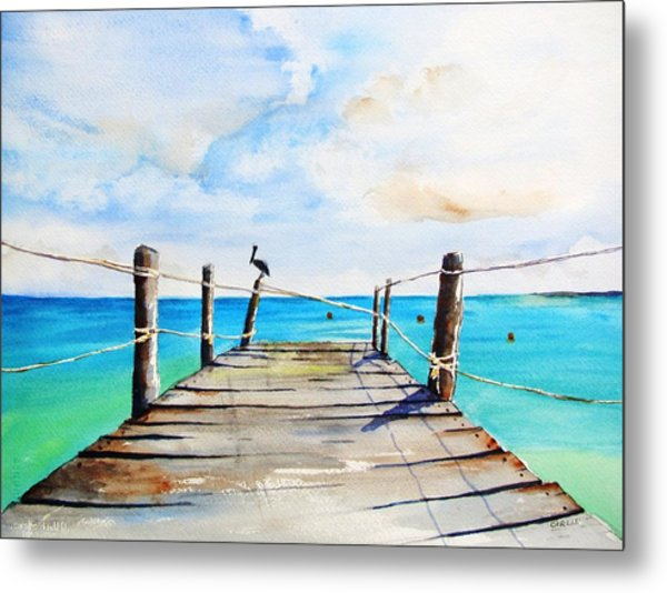 Top Of Old Pier On Playa Paraiso Metal Print