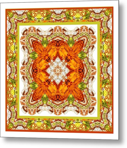 Topaz And Peridot Bling Kaleidoscope Metal Print