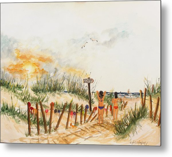 Topless Beach Metal Print
