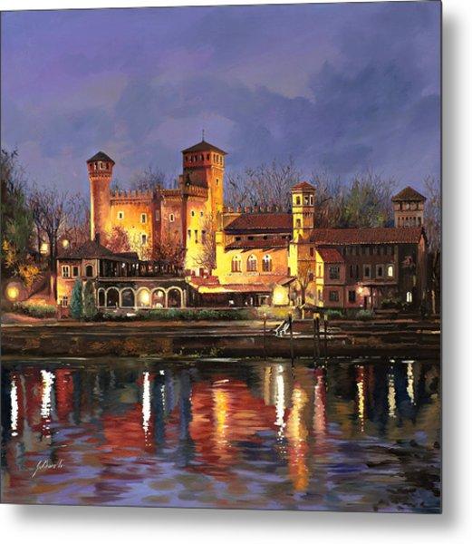 Torino-il Borgo Medioevale Di Notte Metal Print