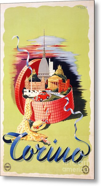 Torino Turin Italy Vintage Travel Poster Restored Metal Print