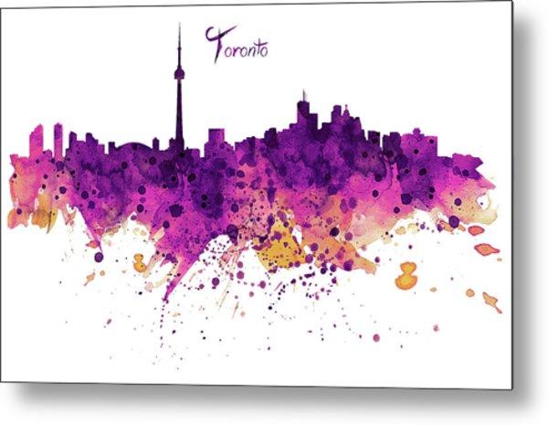 Toronto Watercolor Skyline Metal Print