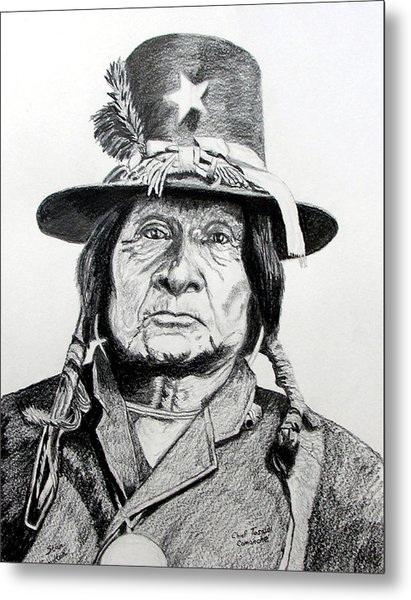 Tosawi Comanche Chief Metal Print by Stan Hamilton