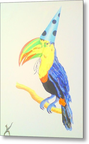 Toucan With  Party Hat Metal Print by Roger Golden