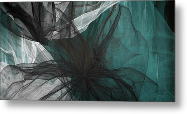 Touch Of Class - Black And Teal Art Metal Print