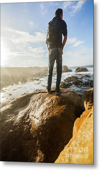 Tourist Looking At The Ocean Metal Print