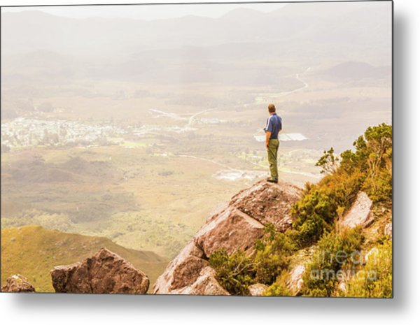 Tourist On The Tip Of Western Tasmania Metal Print