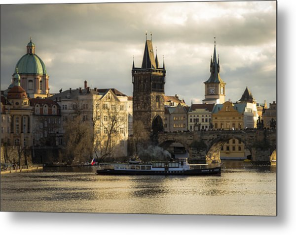 Tower And Churches Adjacent To Charles Bridge Metal Print by Marek Boguszak