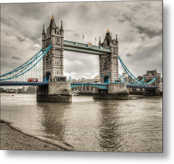 Tower Bridge In London In Selective Color Metal Print