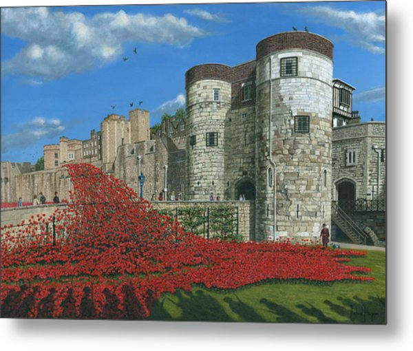 Tower Of London Poppies - Blood Swept Lands And Seas Of Red  Metal Print