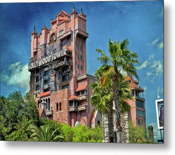 Tower Of Terror Disney World Textured Sky Mp Metal Print