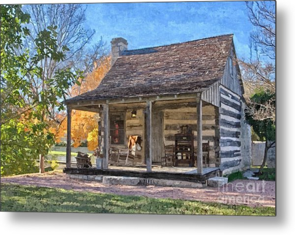 Town Creek Log Cabin In Fall Metal Print