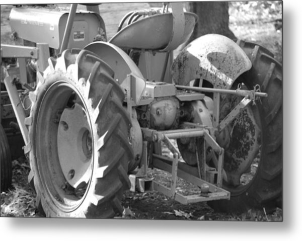 Tractor In Black And White  Metal Print by Peter  McIntosh