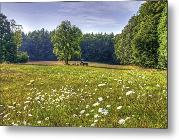 Tractor In Field With Flowers Metal Print