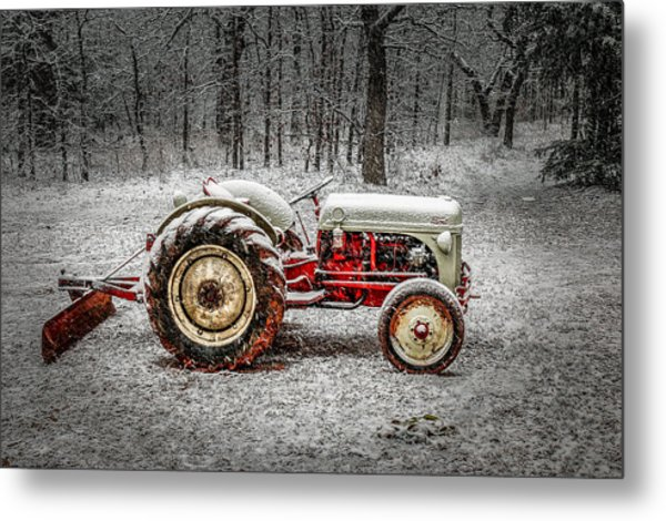 Tractor In The Snow Metal Print