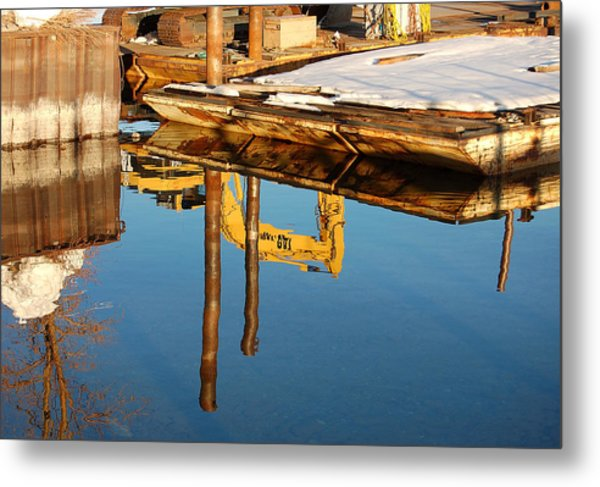 Tractor Reflections Metal Print by Heather S Huston