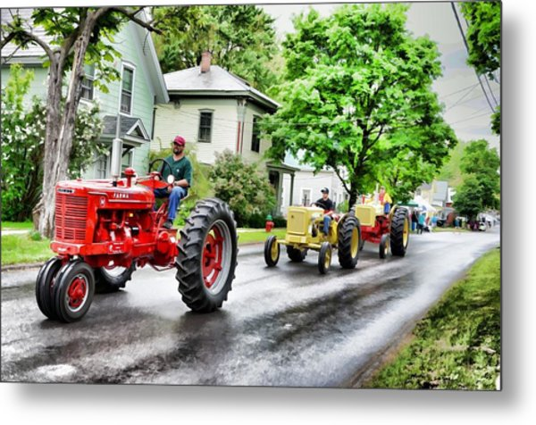 Tractors On Parade Metal Print