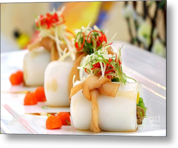 Traditional Chinese Hakka Rice Noodle Roll Metal Print