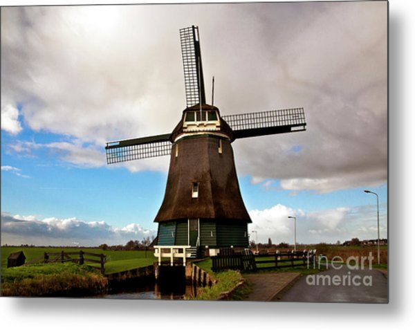 Traditional Dutch Windmill Near Volendam  Metal Print