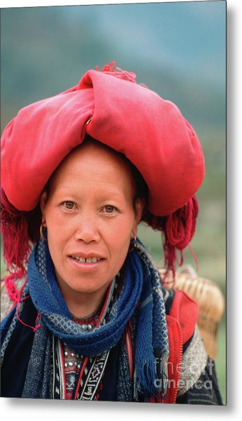 Traditional Fashion Of A Red Dzao Woman Metal Print
