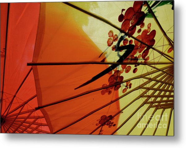 Traditional Red And Yellow Umbrellas Metal Print by Sami Sarkis